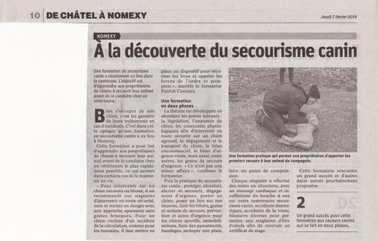 Article secourisme canin decembre 2018