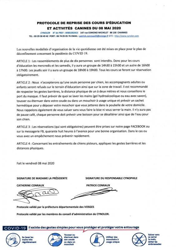 Protocole signe reprise activite mai 2020 covid 19